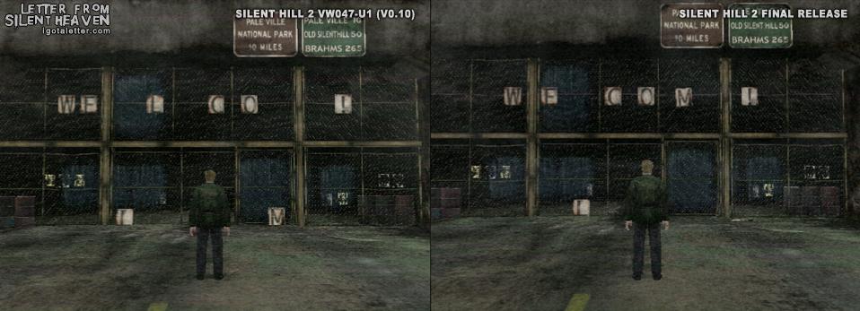 Слегка измененная надпись приветствия в город Silent Hill